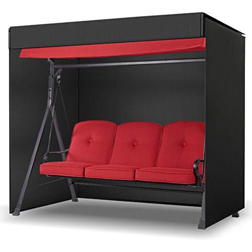 LEESITEC Garden Swing Cover, Waterproof Anti-UV Windproof Dustproof 3 Seater Hammock Cover, Heavy Duty Canopy Swing Chair Cover with Zip 215x125x170cm - Black