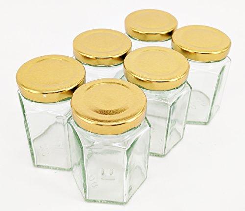 Nutley's 110ml Hexagonal Glass Jam Chutney Preserve Jar (Pack of 12)