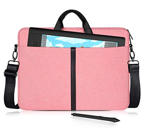 Waterproof Tablet Sleeve Shoulder Strap Case Compatible with Wacom Cintiq 16/ Cintiq Pro 16, Intuos Pro PTH860, Huion Kamvas Pro 16 Carrying Bag(Pink)