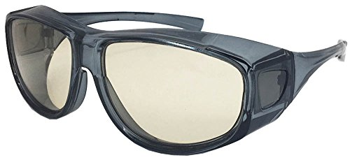 フェイストリックグラッシーズ メガネの上から掛けられるオーバーサングラス 花粉・ウイルス対策 近赤外線カット・ブルー光線カット・UVカット・曇り止め加工 高性能鯖江メーカーレンズ クリアグレーフレーム/ライトブラウンレンズ IROG01-1LB