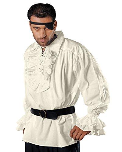 Medieval Poet Pirate Renaissance Costume 100% Cotton Shirt C1011 (Off-White) (Large)
