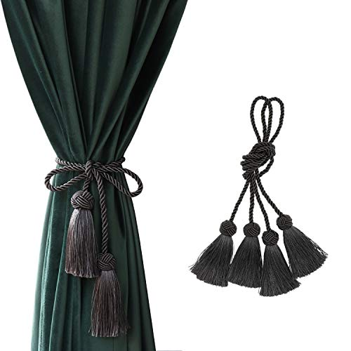 "CHICTIE 37.8"" Long Curtain Tiebacks Tassel Rope Handmade Ball Knot Sheers Draperies Lacing Holdbacks with Fringe for Window Door Bath Towel Decorative (Black Grey, 2)"