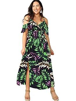 Milumia Women Plus Size Cold Shoulder Floral Maxi Bohemian Split Dress Green X-Large Plus