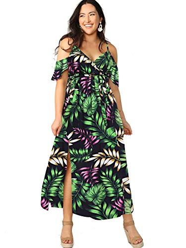 Milumia Women Plus Size Cold Shoulder Floral Maxi Bohemian Split Dress Green Large Plus