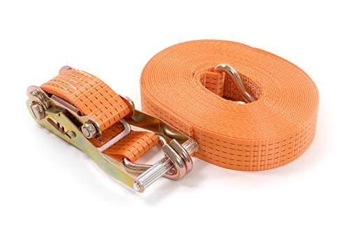Seil-tech - Spanngurt mit Ratsche 5000kg daN 5t orange Zweiteilig Zurrgurte - 50mm - Längere Haltbarkeit - Entsprechen DIN EN 12195-2, 6M
