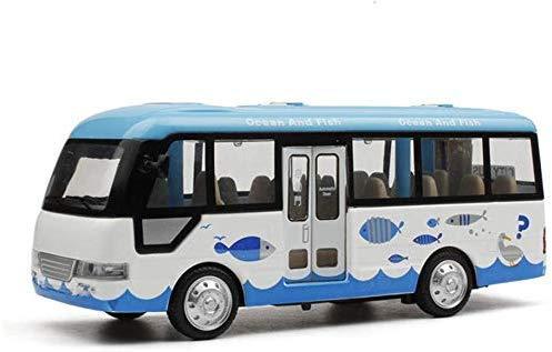 IAIZI Coches de Juguete Modelo de Coche de Juguete de aleación de autobús público pequeño autobús Sonido y la luz Tire hacia atrás del autobús Escolar Modelo de Coche for niños (Color: Azul) ZGHE