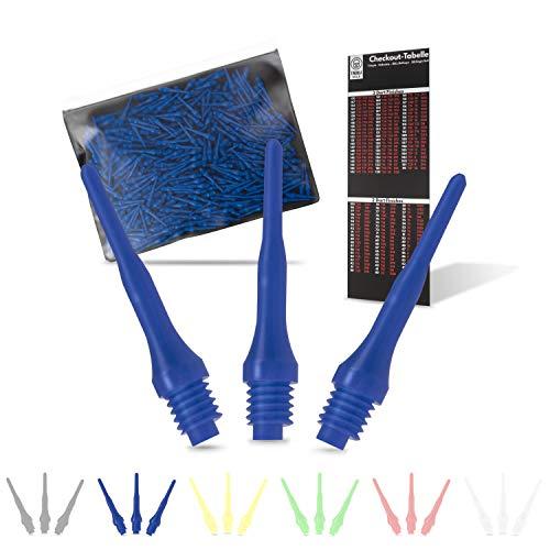 Tindola MAX Dartspitzen Kunststoff, Blaue Soft Dart Spitzen Plastik kurz, Darts Spitzen Pfeile 2BA