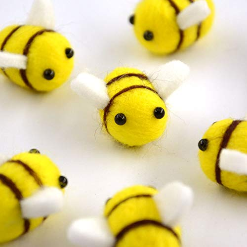 Rainlemon Wool Felt Bumble Bee Craft Ball Nursery, Tent Decoration Baby Shower Gender Reveal Party Supply -Pack of 10