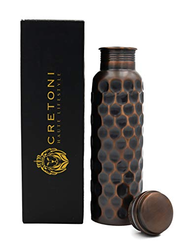Cretoni Serie Antigua del Puro Botella de Nido de Abeja de Cobre Agua Directamente a Prueba de Fugas diseño ayurvédica Cobre Barcos Deportivos(900 mililitro / 30 onzas)