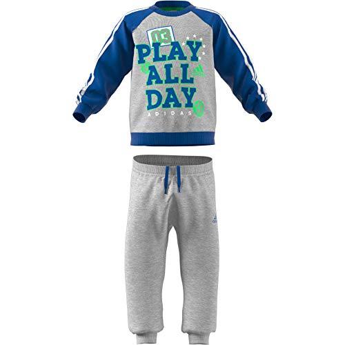 adidas adidas Baby Graphic Jogger French Terry Trainingsanzug, Medium Grey Heather/Blue/White/Energy Green, 98