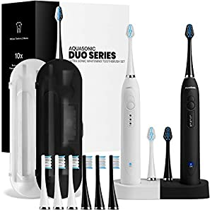 AquaSonic Duo Dual Handle Ultra Whitening 40,000 VPM Wireless Charging Electric ToothBrushes – 3 Modes with Smart Timers – 10 Dupont Brush Heads & 2 Travel Cases Included