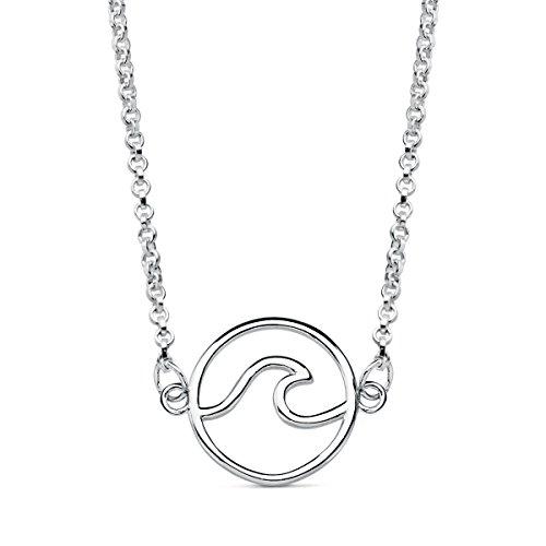 Iyé Biyé Jewels - Colgante Collar Mujer niña Plata de Ley 925 Ola de Mar 12 Mm Cadena Rolo 42 cm Ajustable.