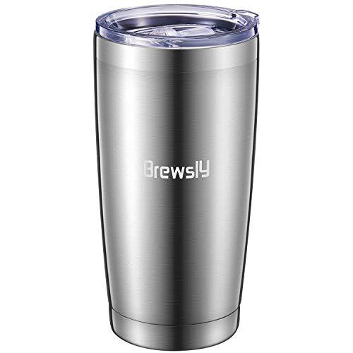 Brewsly Travel Mug Thermo, 600 ml, taza térmica de acero inoxidable, mantiene 6 h caliente/12 h frío, taza térmica con aislamiento de doble pared, sin BPA, vaso reutilizable para café, té y cerveza