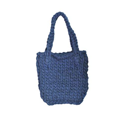 WOKJBGE Rattan Tasche 30 * 33 Dicke einzelne Schulter gewebte Taschen handgemachte gehäkelte gestrickte Dame Tasche für Frauen Mädchen Tasche Handtasche F