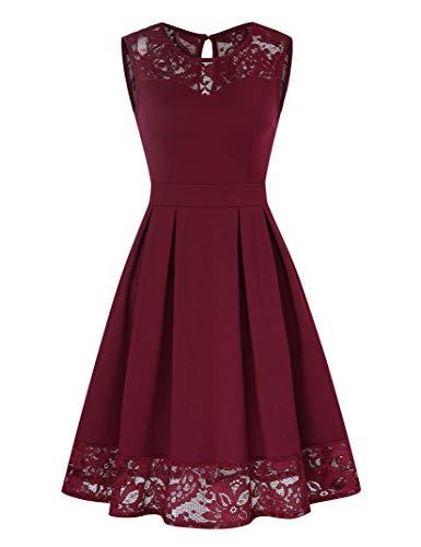 KOJOOIN Vestidos Elegantes para Mujer Vestido de Encaje Vestido de cóctel sin Mangas hasta la Rodilla Vestido de Rockabilly Vino Rojo Sin Mangas (actualización Puntiaguda) L