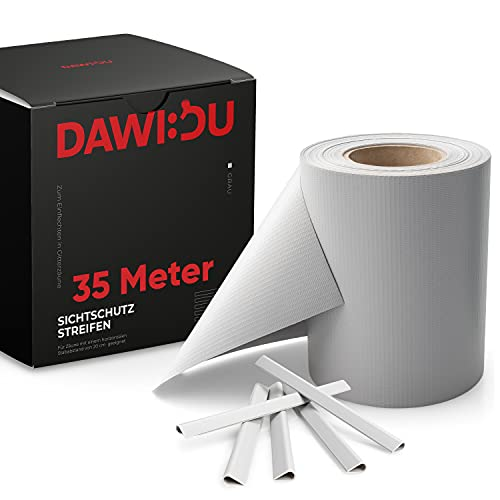DAWIDU Zaun Sichtschutzstreifen für Doppelstabmatten - 35m x 19cm inkl. 26 Clips - 3 Farben - Hochwertiger Wind- & Sichtschutz Zaun Grau 450g/m² - Einfache Montage & langlebiger Schutz