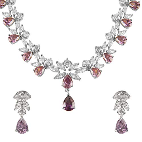 Swasti Jewels Silver Plated CZ Necklace and Earrings Set for