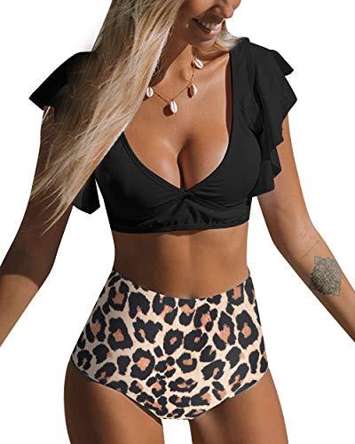 RXRXCOCO Vrouwen Ruffled Crop Bikini Top V Nek Rugloos Hoge Taille Zwemkleding