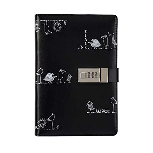 Cuadernos Blanco y Negro Graffiti Creativo Hoja Suelta Bloqueo de la contraseña Cuaderno Diario del Estudiante Cuaderno de la Cuenta Cuaderno de la Vida Blocs de Notas y Diarios (Color : Black)