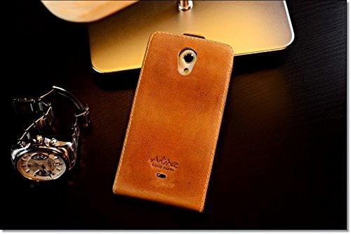 Urcover Akira Hand Made [Echt Leder] Handyhülle kompatibel mit Sony Xperia T Cover Handgemacht Case Schutzhülle Etui Flip Wallet Pen Hell Braun