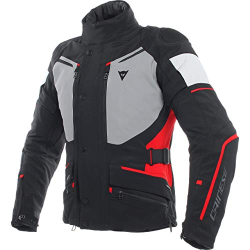 Dainese Motorradjacke mit Protektoren Motorrad Jacke Carve Master 2 GTX Damen Textiljacke schwarz/grau/rot 42, Tourer, Ganzjährig