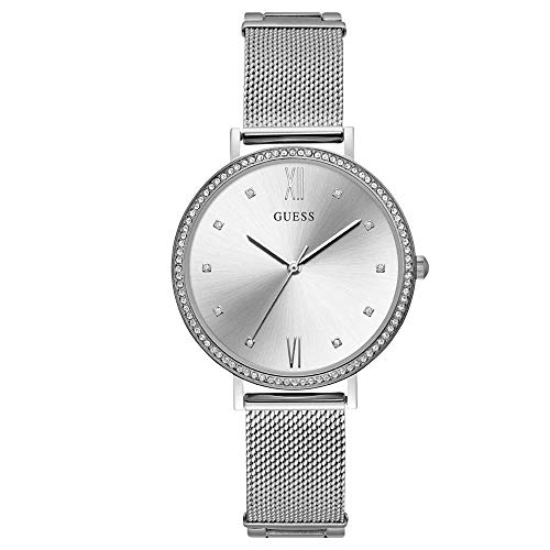 Guess Damen Analog Quarz Uhr mit Edelstahl Armband W1154L1