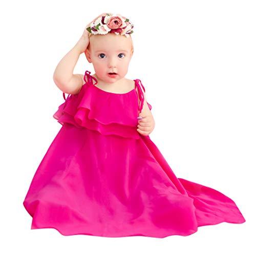 Mama & ich Kleider Outfits,Luotuo Sommer Mode Mutter Tochter Eltern-Kind Kleidung - Mädchen Einfarbig Chiffon Rüschen Spitze Unregelmäßig Kleid Weich und bequem Strandkleider Partykleid