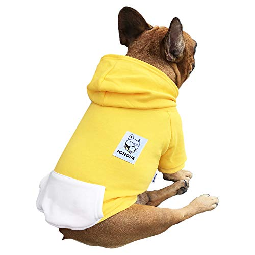 iChoue Pet Clothes Dog Hoodie Hooded Full-Zip Sweatshirt French Bulldog Pug Boston Terrier Cotton Winter Warm Coat Clothing - Yellow/Size L