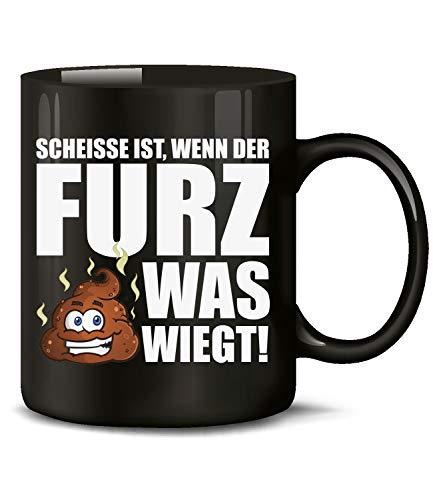 Golebros Fun Tasse Scheisse ist wenn der Furz was wiegt 6134 Handwerker Kollege Arbeit Becher Kaffeetasse Arbeitskollege Pupsen Kacken Liebe Love Shit Schwarz