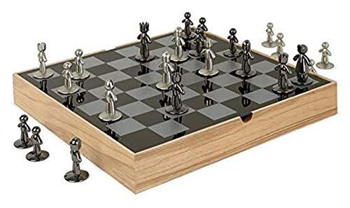 TL TONGLING Tablero de ajedrez Decoración de ajedrez Tablero de ajedrez de Madera Pieza de ajedrez de Metal Sala de Estar Decoración de la casa Regalo de decoración