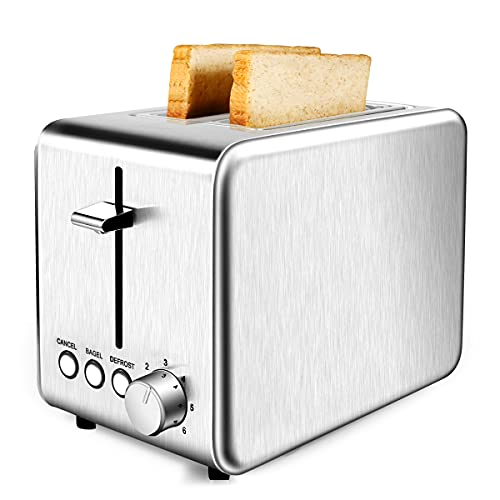 Toaster 2 Slice, Stainless Steel Toaster, Extra Wide Slot 2 Slice Toaster Best Rated Prime with Pop Up Timer, 6 Bread Shade Settings, Removable Crumb Tray