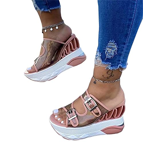 NISHIWOD Zapatillas Casa Chanclas Sandalias Wave Wedges Sandalias De Mujer Sandalias De Plataforma Cómodas Tacones Altos para Mujer Zapatos Casuales Mujer 35 Rosa