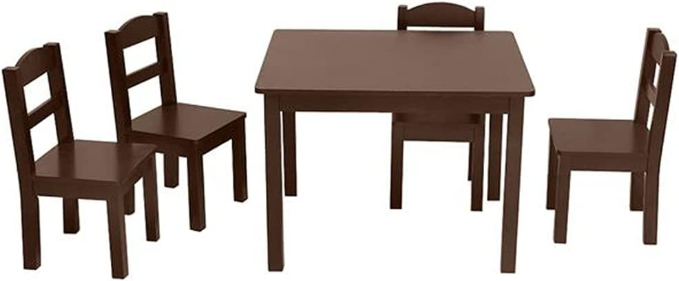 Animer New product! New type and price revision 5-Piece Kids Wood Table 4 Children Chairs Fu Study Set