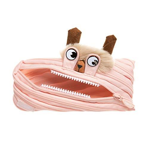 ZIPIT Monster LOLA - Estuche para niña (hasta 30 bolígrafos, lavable a máquina, fabricado con una sola cremallera larga), color melocotón