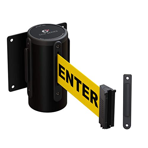 CCW Series WMB-120 Fixed Wall Mount Retractable Belt Barrier 11 Foot with Steel Case (11 Foot, Caution Do Not Enter Belt with Black Steel Case)