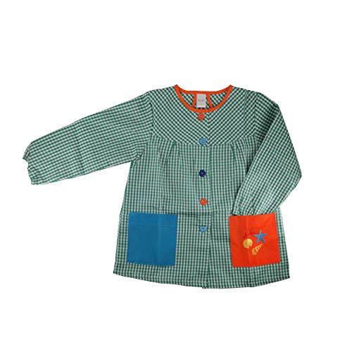 Kiz Kiz Bata Escolar Infantil Multicolor Baby Infantil de Cuadros - (4-5 años, Verde)