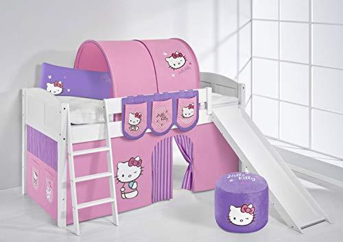 Lilokids Lit surélevé ludique IDA 4106 90x200 cm Hello Kitty Lilas - Lit surélevé évolutif Blanc laqué - avec Toboggan et Rideaux