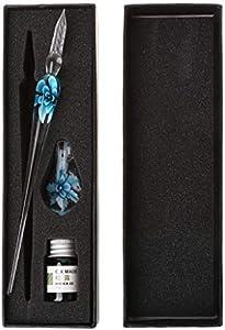 Bolígrafo de cristal vintage hecho a mano con diseño floral de cristal elegante para inmersión y regalo