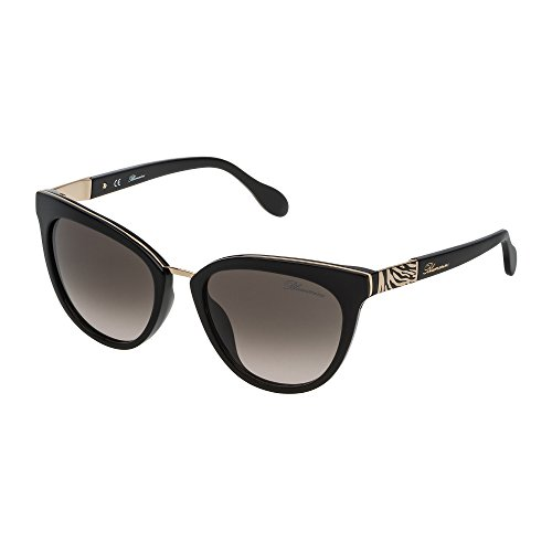 Blumarine - Gafas de sol para mujer, color negro brillante, lentes green gradient powder SBM713 0700 53-18-135