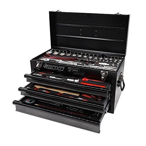 BOXO USA Heavy Duty 103 Piece MotoBox Tool Box - Black