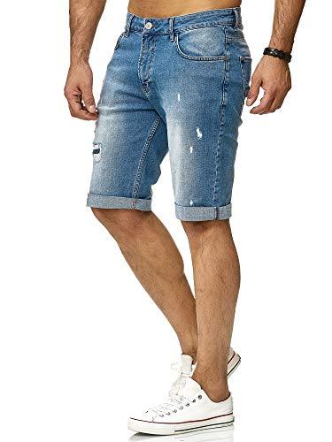 Redbridge Herren Denim Shorts Basic Destroyed Jeansshort Kurze Hose Freizeit Jeans, Blau, Gr.- 30W