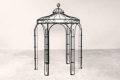 ELEO Siena runder Eisenpavillon mit Messingkugel und Sonnensegel, Ø 2,1 m (Oberfläche: anthrazit pulverbeschichtet)