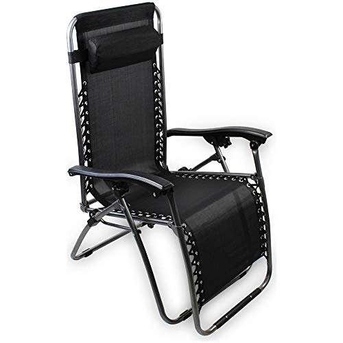Mediawave Store - Tumbona plegable EVERTOP 604001, color negro, totalmente reclinable, gravedad cero