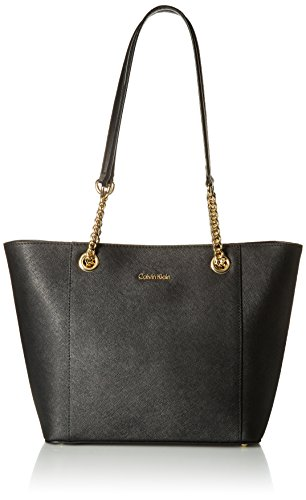 Calvin Klein Hayden Saffiano Leather East/West Top Zip Chain Tote, Black/Gold