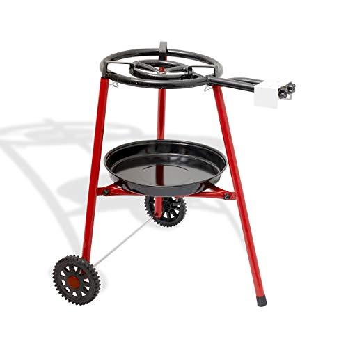 Ringg Paella Gasbrenner Set Grillset mit Rädern –Ø 40 cm 1 Ring mit Propan Butan Gas – Edelstahl Gas Brenner Gasgrill für Spanien Paella Paelleras