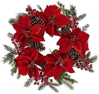 Amazon Com Valerie Parr Hill 22 Glitter Velvet Poinsettia And Pinecone Wreath Home Kitchen