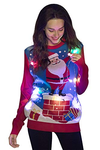 Unisex Women's Christmas Ugly Sweater Knit Funny LED Light-up Flashing Pullover Santa Reindeer Festive Sweatshirt for Party, Santa Holding The LED Lights- X-Large