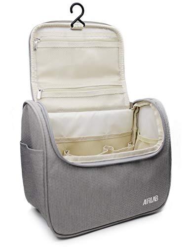 Kulturbeutel zum Aufhängen, Airlab Kulturtasche mit Tragegriff und Haken, Größe: 24x 19,5 x 12,5cm, Grau