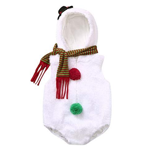 YWLINK 2PC Disfraz De Navidad para Bebé ReciéN Nacido Petos Mono De Felpa con Forma De MuñEco De Nieve Bola De Hilo Modelado+Bufanda 0-24 Meses Bebé Traje De Fiesta De Bautismo