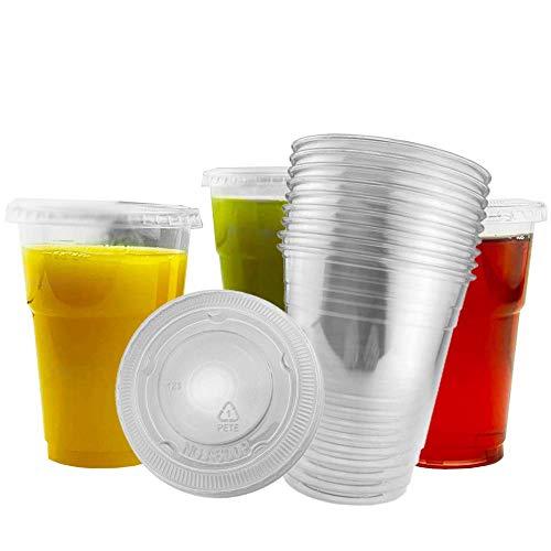 Bicchieri in plastica trasparente con coperchio, 250 ml, 50 tazze usa e getta e 50 coperchi, perfetti per caffè, succhi, frullati, frullati, frullati di frutta e altre bevande fredde spesse.